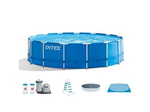 Intex 18 ft x 48 in Metal Frame Pool With Pump, Ladder, Cover and Tarp for Sale in Berlin, MA