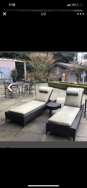Two chaises lounges without side table 💥can be sold by piece 💥 for Sale in Tacoma, WA