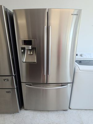 Samsung stainless steel French door refrigerator used good condition with 90 days warranty for Sale in Frederick, MD