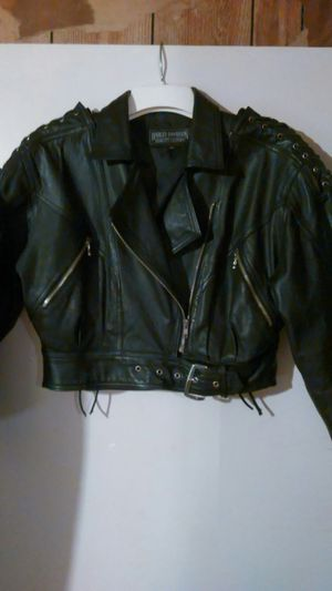 Ladies Harley Davidson black leather motorcycle jacket for Sale in Prairieville, LA