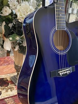 blue fever electric acoustic guitar with metal strings for Sale in Bell,  CA