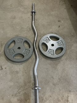 "Standard (1"") curl bar and weights for Sale in Renton,  WA"