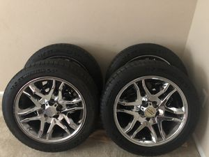 """17"""" Michelin Pilot Sport tires along with Chrome American Racing Rims. Great condition. Best offer! for Sale in Manassas, VA"""