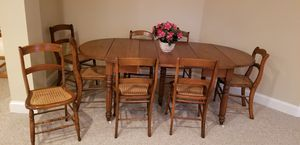 Antique dining table with 9 cane chairs for Sale in Leesburg, VA