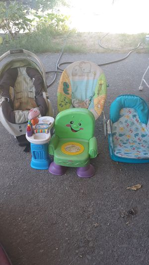 Car seat baby bouncer baby shower and learning seat toy make offer for Sale in Stockton, CA
