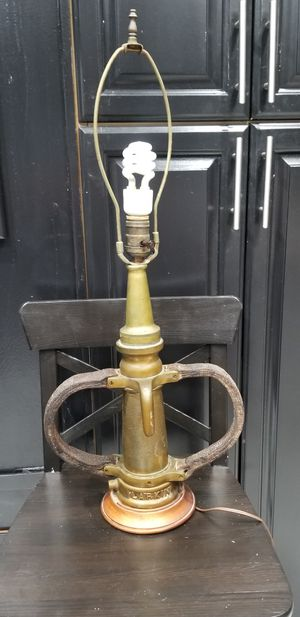 ANTIQUE LARKIN FIRE HOSE NOZZLE TABLE LAMP 1900 BRASS VINTAGE DAYTON OH FIREHOUSE for Sale in Fort Lauderdale, FL