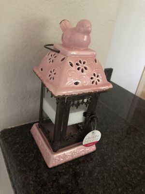 NEW Wild Blooms Hanging Lantern Pink Bronze Cabana LED Candle Holder for Sale in Katy, TX