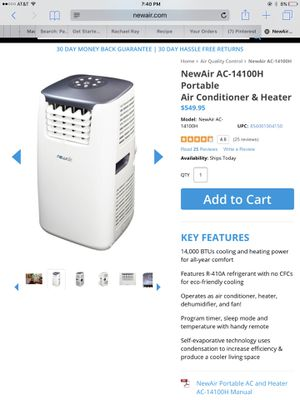 New Air Portable AC & Heater-NO Delivery for Sale in Santa Clara, CA