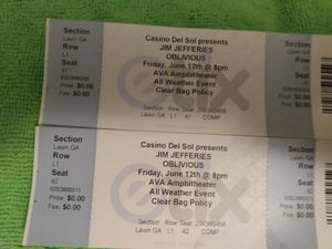 Jim Jefferies oblivious concert for Sale in Tucson, AZ