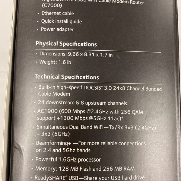 Netgear Nighthawk AC1900 Cable Modem & Router