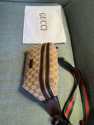 Gucci supreme monogram waist chain fanny pack cross body gym bag purse sunglasses case handbag gold brass belt gg leather for Sale in San Diego, CA