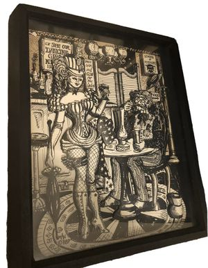 Saloon Girl & Man Paper Sculpture 3D Framed Art 1 of 2 for Sale in Manassas, VA