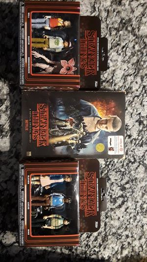Stranger Things (2) funko 3 pack action figure sets with collectible VHS season 1 blu-ray and dvd for Sale in San Antonio, TX