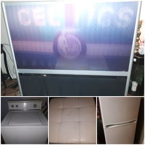 TV Toshiba/wide HD(old school) , white ottoman, Standard size white refrigerator (magic chef), Kenmore washer (used -Runs Great) for Sale in Midwest City, OK