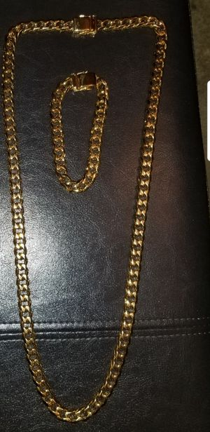 """Stainless steel Cuban link 30""""chain and bracelet set for Sale in Philadelphia, PA"""