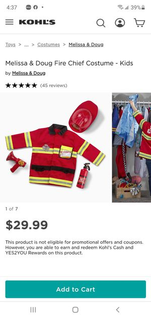 Melissa & Doug Fire Chief Costume - Kids for Sale in Costa Mesa, CA
