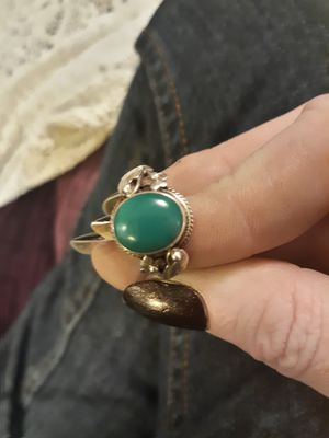 925 silver and green (mystery stone) ring, size 8.25 for Sale in Puyallup, WA