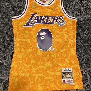 BAPE x Mitchell & Ness Lakers ABC Basketball Swingman Jersey Yellow for Sale in Beverly Hills, CA