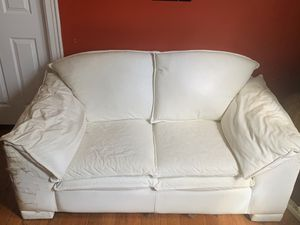 Real genuine white leather Maurice Villency loveseat couch 🛋 for sale for Sale in New York, NY