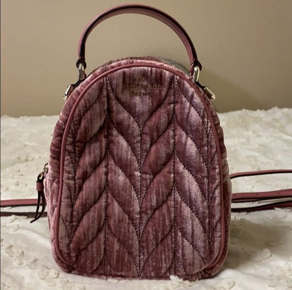 Kate spade velvet quilted backpack