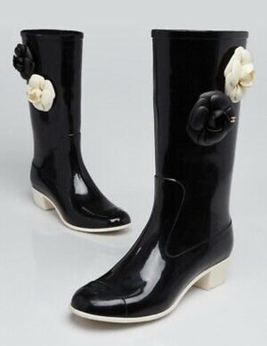 Chanel black rubber Camellia rain boots size 38 for Sale in Wendell, NC