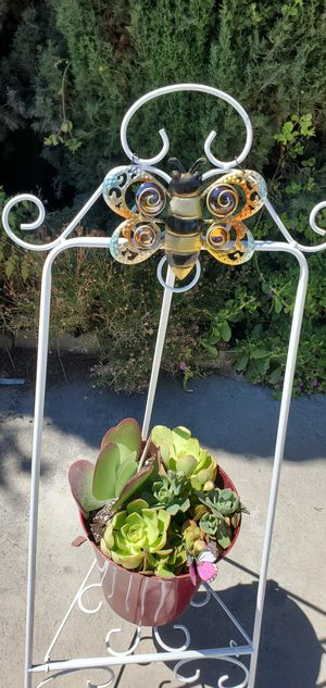 2pc beautiful plant stand with planter packed with succullents for Sale in Orange, CA
