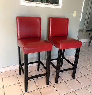 Villa Faux Leather Counter Bar Stools (Set of 2) - Red for Sale in Las Vegas, NV