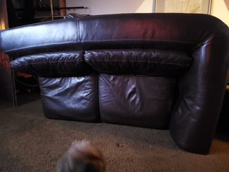Free Burgundy Leather Loveseat Section for Sale in Hightstown,  NJ