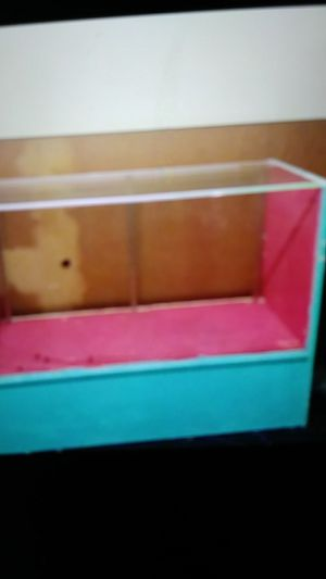 Glass top show case, cherry wood desk, file cabinet, basthroom vanity, small refrigerator. Make offer for all or individual for Sale in St. Louis, MO
