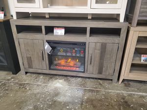 Dark Gray Large TV Stand w/Fireplace Option for Sale in Huntington Beach, CA