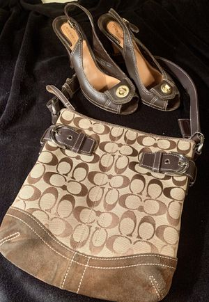 Authentic Coach Open Toed Sling Back Heels (7) W/Monogrammed Coach Suede Purse for Sale in Milwaukie, OR