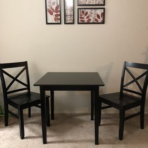 3 Piece Dining Set - 2 Person Square Black Dining Table with 2 Black Dining Chairs for Sale in Alexandria, VA
