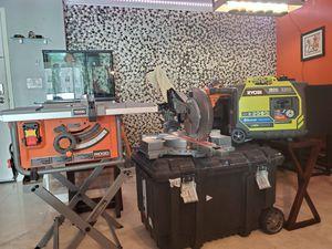 Rigid table saw rigid compound miter saw ryobi inverter generator for Sale in Miami Beach, FL