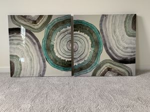 Agate Stone - Canvas Print (Teal & Grey) for Sale in Midlothian, VA