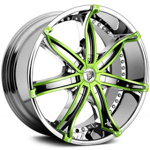 """(4) 22"""" Diablo DNA Chrome with Custom Green Finish Inserts Rims ONLY for Sale in Riverview, FL"""
