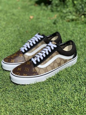 100% authentic custom made gucci/louis vuitton vans size 10. for Sale in San Leandro, CA