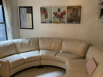 Ivory White Leather Couch With Ottoman for Sale in New York,  NY