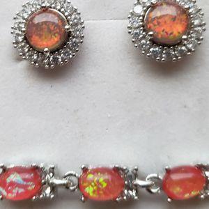 Austrian Red Fire Opal Cz Bracelet W Free Earrings for Sale in Baltimore, MD