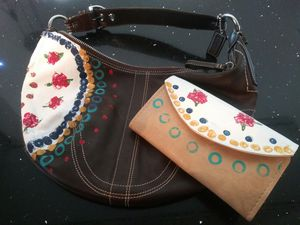 Hand painted coach purse and wallet for Sale in Payson, AZ