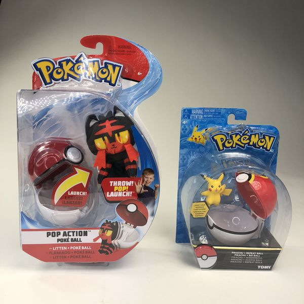 Pokémon Pop Action Litten Poke Ball & Pikachu + Repeat Ball Tomy Bundle