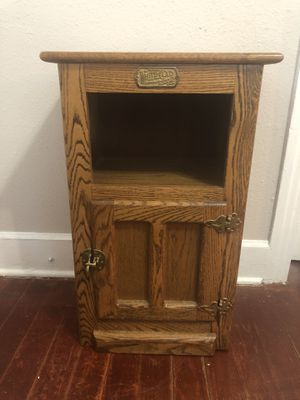 Vintage White Clad Ice Box Cabinet End Side Table Solid Darker Oak for Sale in Tampa, FL