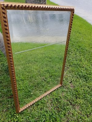 $40.00 - Antique Mirror, Carved Wood/Etched Glass Star & Line Designs/Beveled Glass Finish, Overall Good Condition! - Priced at Minimum/Tall Mirror! for Sale in Miami, FL