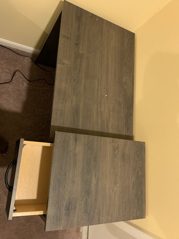 Desk with drawer and two open shelves