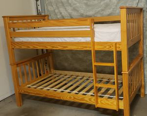 Twin Bunk Bed Wood with mattress for Sale in Wesley Chapel, FL
