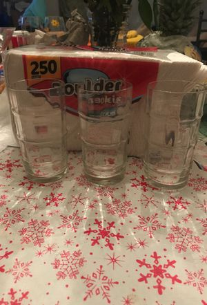 Set of 3 clear glass cups for Sale in Washington, DC