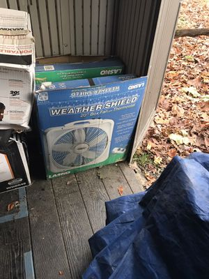 Lasko Weather-Shield 20 in. 3-Speed Box Fan with Thermostat for Sale in Vienna, VA