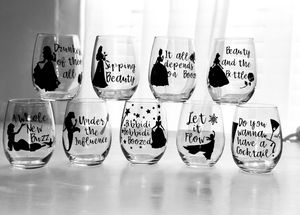 Disney wine pun glasses for Sale in Sacramento, CA