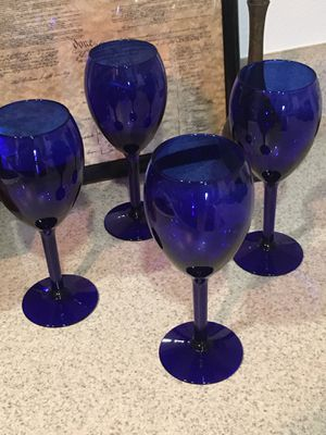 Cobalt Blue Glass Wine Goblets - Set of 4 for Sale in Murrieta, CA