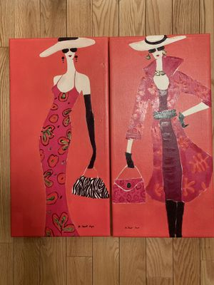 Pair of Vintage Stylish Women on Canvas Paintings by Agnes Saint Leger 23.5x12 inches for Sale for sale  ROCKAWAY BEAC, NY