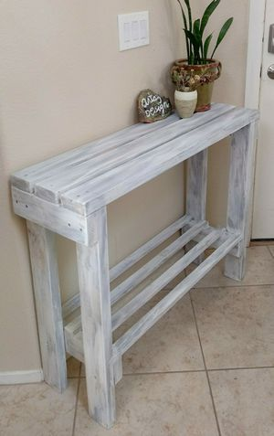 """30""""H X 40""""W X 12""""D (3 Planks) 🌱Solid Wood Entryway Console Table with Shelf ::: Rustic Distressed Still Gray/White for Sale in Las Vegas, NV"""